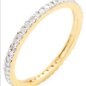 14k Yellow Gold Pave White Diamond Ring 0.30 Karat